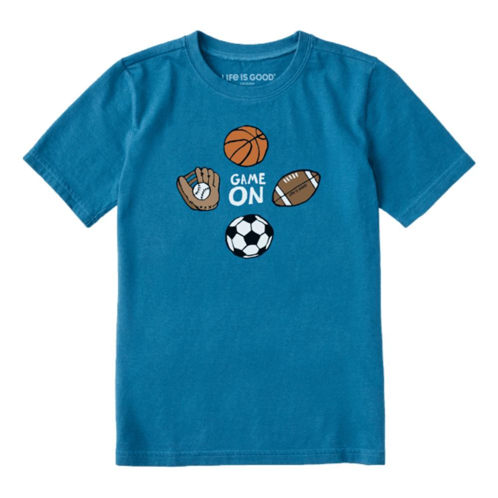 Life is Good Kids Game On Sports Crusher Tee PERBLUE