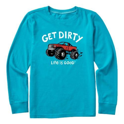 Life is Good Kids Get Dirty Truck Long Sleeve Crusher Tee Islblue