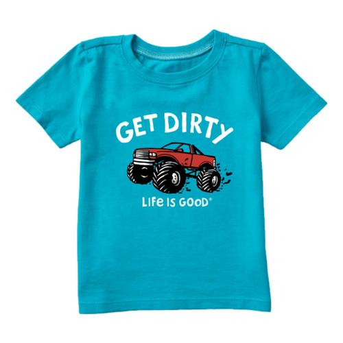 Life is Good Toddler Get Dirty Truck Crusher Tee Islblue