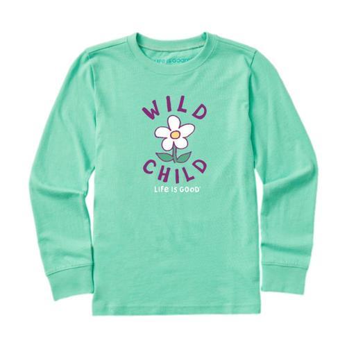 Life is Good Kids Wild Child Flower Long Sleeve Crusher Tee Sprgreen