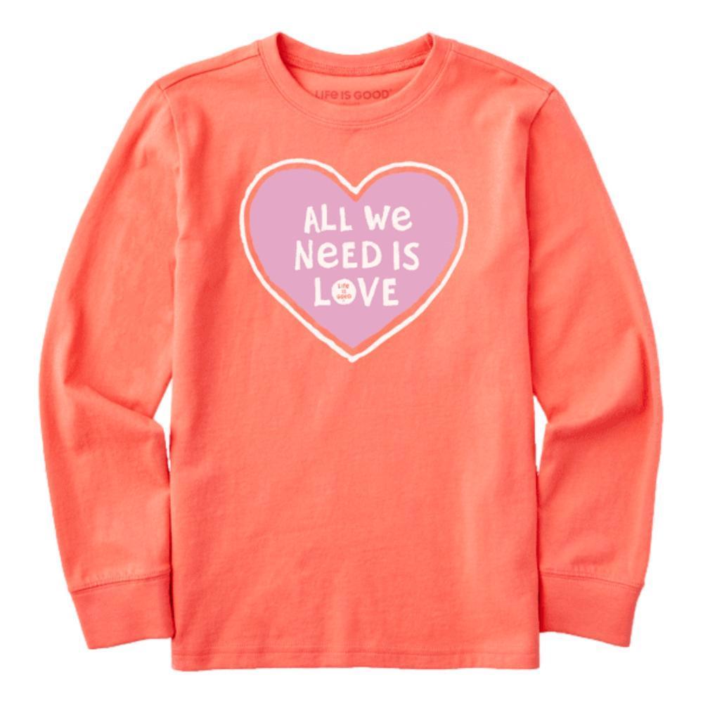 Life is Good Kids All We Need Heart Long Sleeve Crusher Tee MANGO