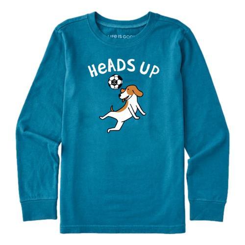 Life is Good Kids Heads Up Soccer Dog Long Sleeve Crusher Tee Perblue