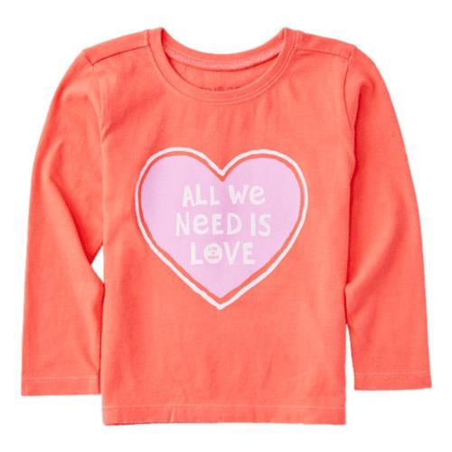 Life is Good Toddler All We Need Heart Long Sleeve Crusher Tee Mango