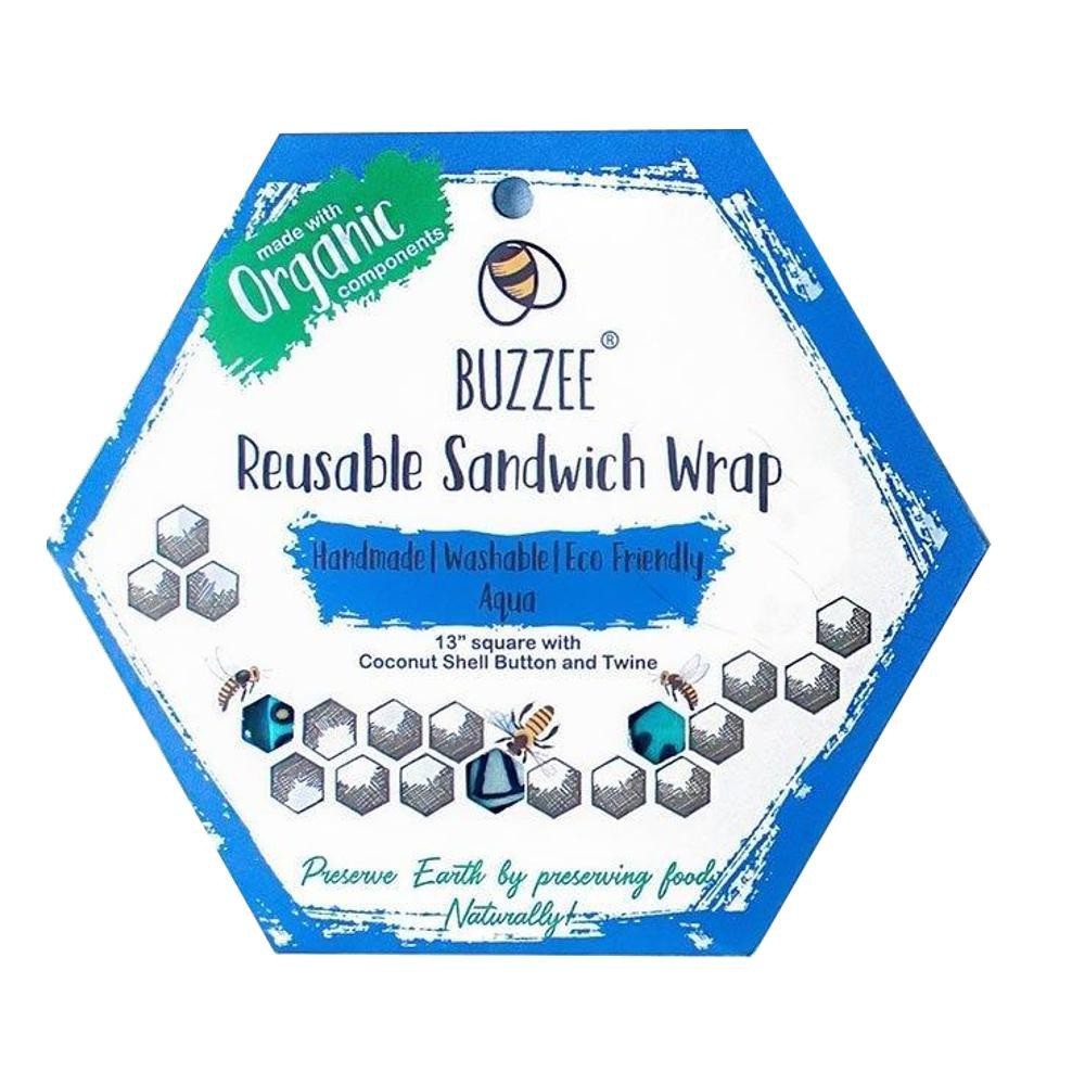 Buzzee Reusable Sandwich Wrap AQUA