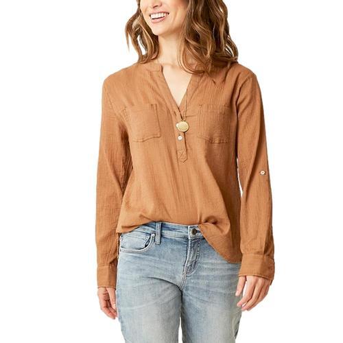 Carve Designs Women's Dylan Gauze Shirt Saddle_218