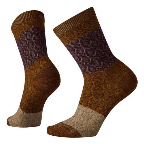 Smartwool Women's Color Block Cable Crew Socks ACORN/BORDEAUX_H88