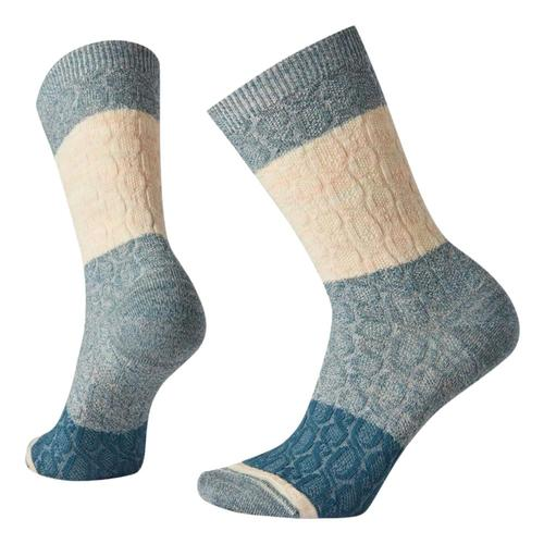 Smartwool Women's Color Block Cable Crew Socks Prussianblue_f12