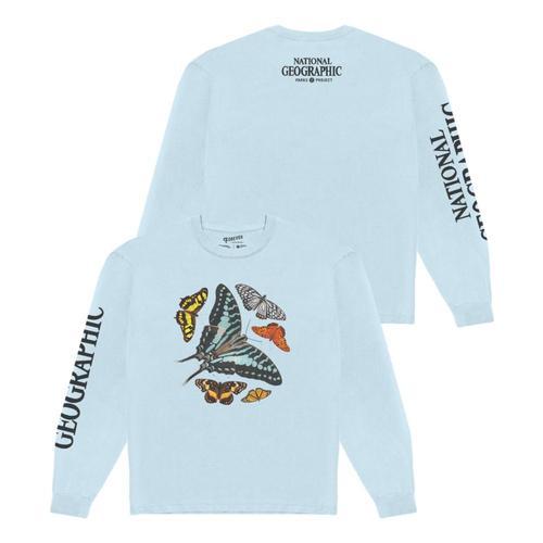 National Geographic x Parks Project Unisex Butterflies Specimens Long Sleeved Tee Shirt Blue_dublu