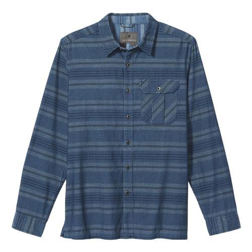 Royal Robbins Men's Covert Cord Organic Cotton Stripe Long Sleeved Shirt Teal_405