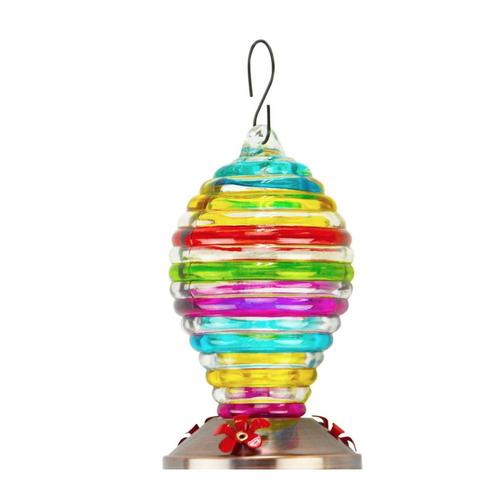 Red Carpet Studios Multi Color Stripe Balloon Glass Hummingbird Feeder