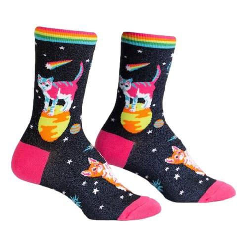 Sock It to Me Women's Space Cats Shimmer Crew Socks Black