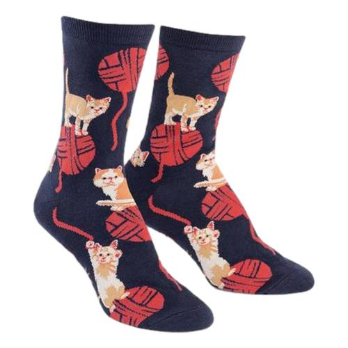 Sock It to Me Women's Kitten Knittin' Crew Socks Black