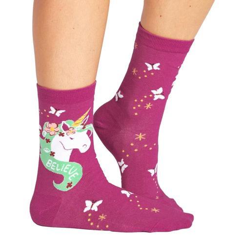 Sock It to Me Believe in Magic Crew Socks Pink