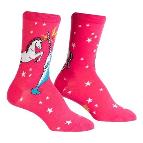Sock It to Me Women's Unicorn Vs. Narwhal Crew Socks Pink