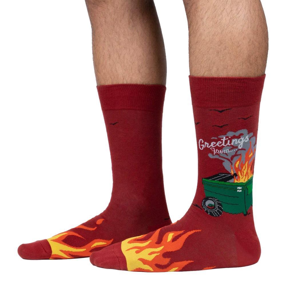 Sock It to Me Men's Dumpster Fire Crew Socks RED