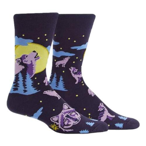 Sock It to Me Men's 6 Wolf Moon Crew Socks Wolf