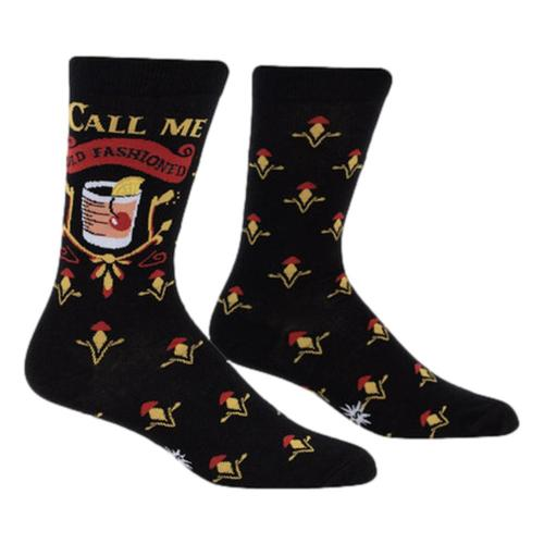 Sock It to Me Men's Call Me Old Fashioned Crew Socks Black