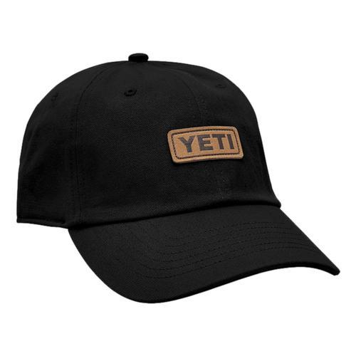 YETI Badge Logo Leather Soft Crown Hat Black