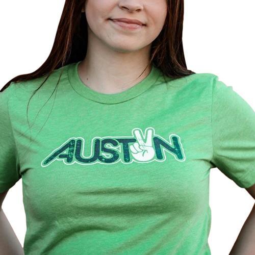 Gusto Tees Men's Peace Austin T-Shirt Green