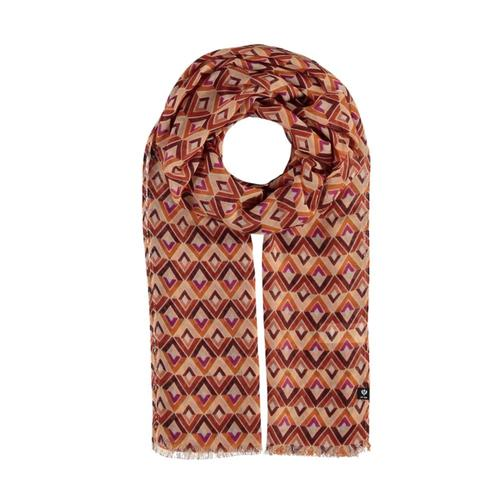 V. Fraas Geometric Triangle Polyester Print Scarf Rust_290