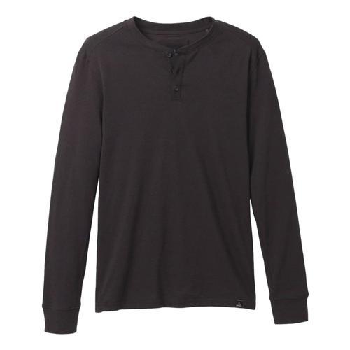 prAna Men's Ronnie Henley Long Sleeve Shirt Black